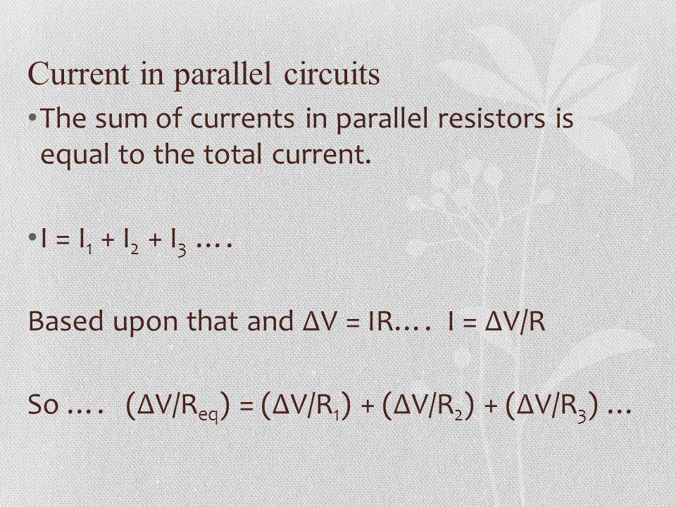 Current in parallel circuits