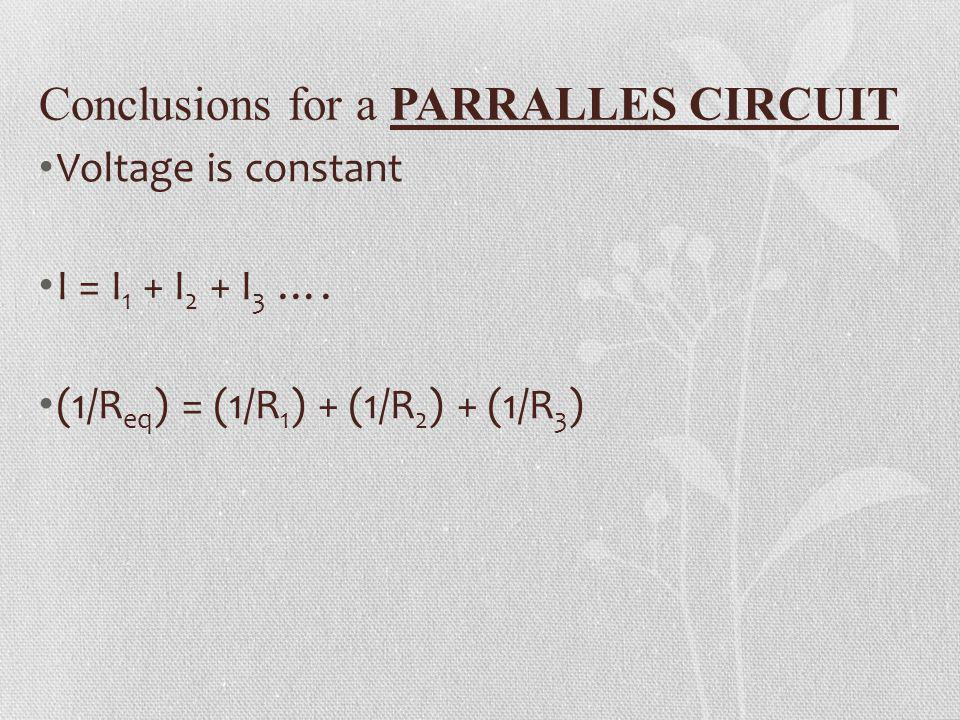 Conclusions for a PARRALLES CIRCUIT