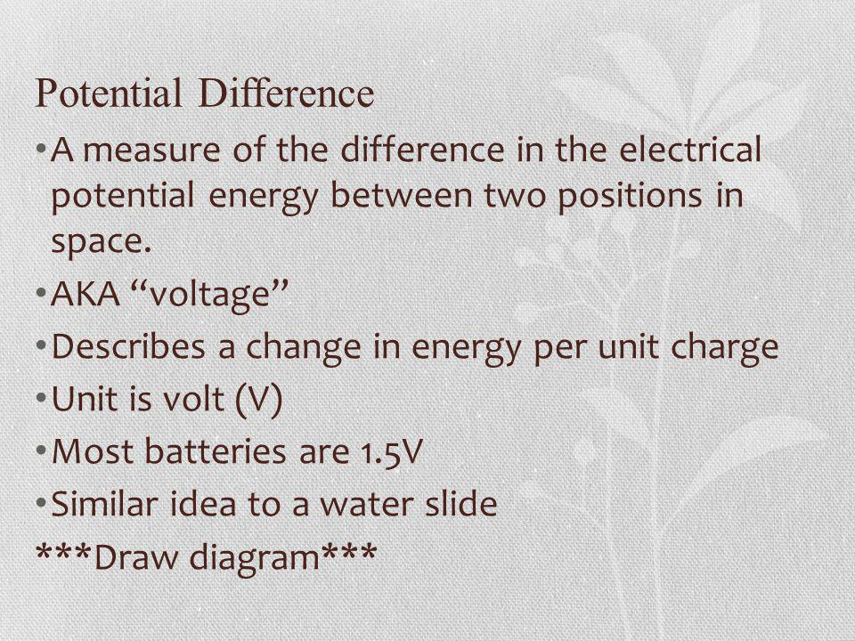 Potential Difference A measure of the difference in the electrical potential energy between two positions in space.