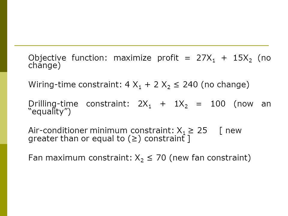 Objective function: maximize profit = 27X1 + 15X2 (no change)