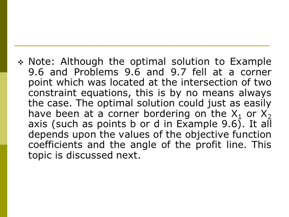 Note: Although the optimal solution to Example 9. 6 and Problems 9