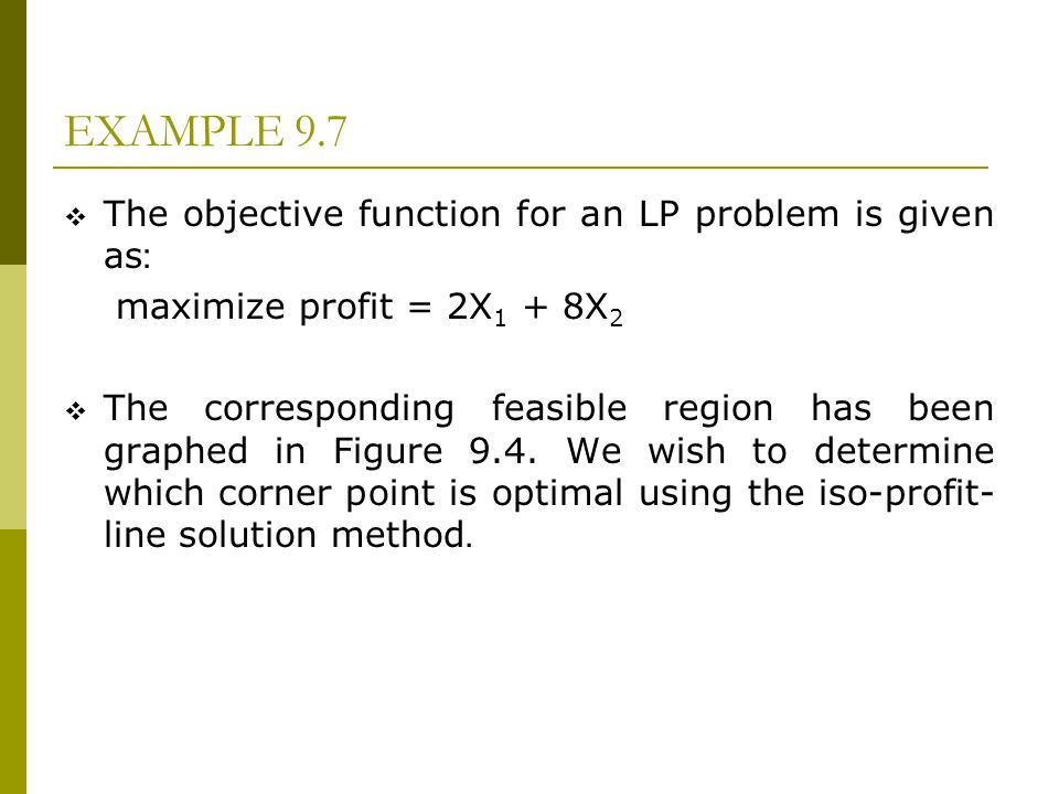 EXAMPLE 9.7 The objective function for an LP problem is given as: