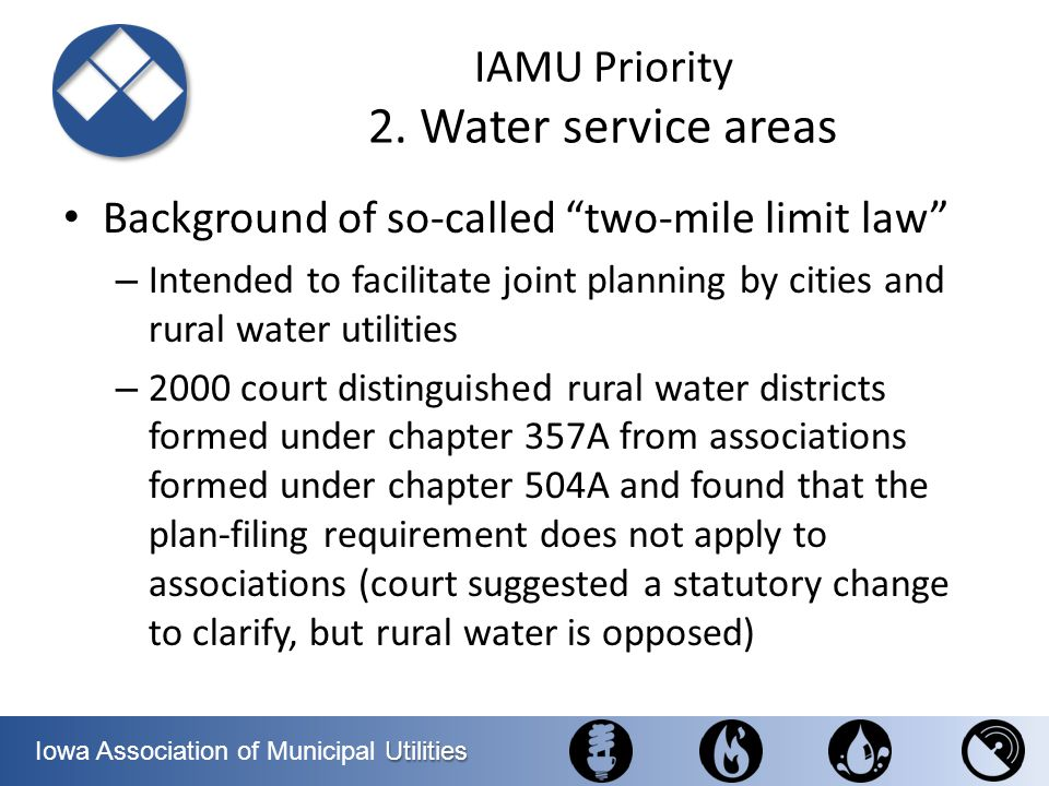 IAMU Priority 2. Water service areas