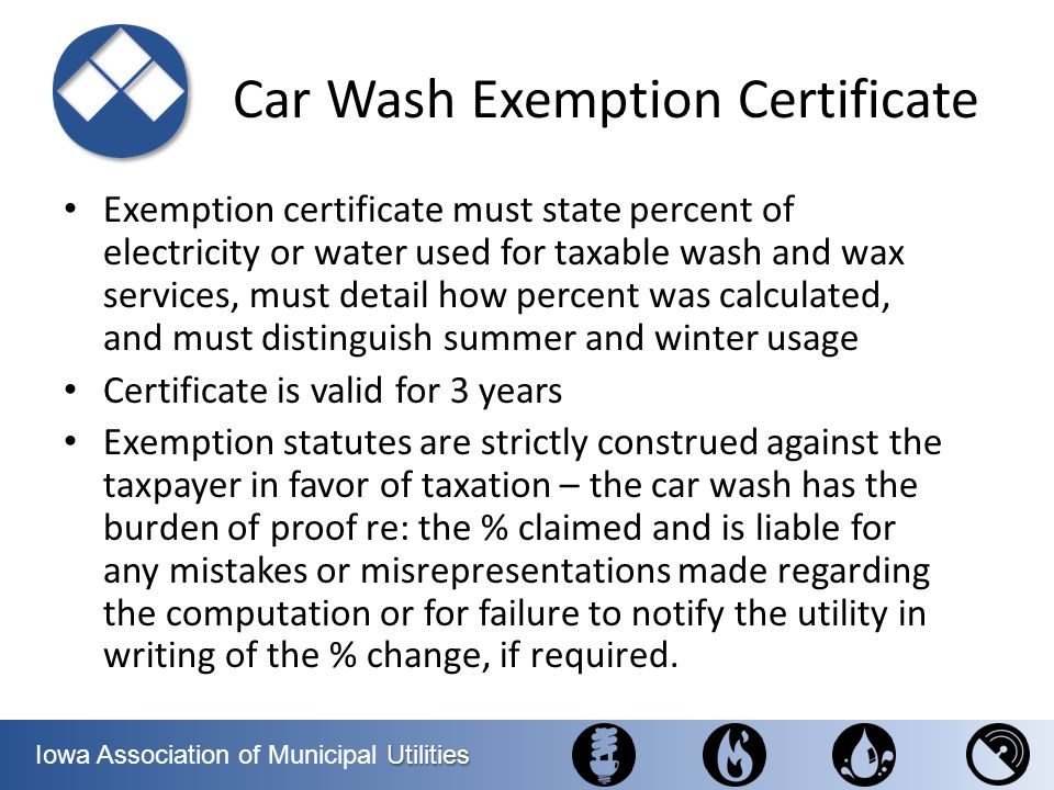 Car Wash Exemption Certificate