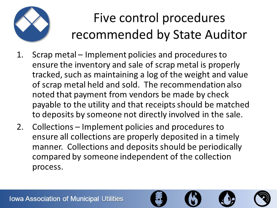 Five control procedures recommended by State Auditor