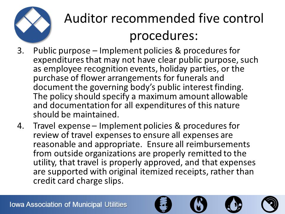 Auditor recommended five control procedures: