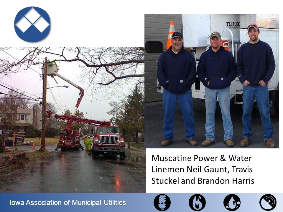Muscatine Power & Water Linemen Neil Gaunt, Travis Stuckel and Brandon Harris