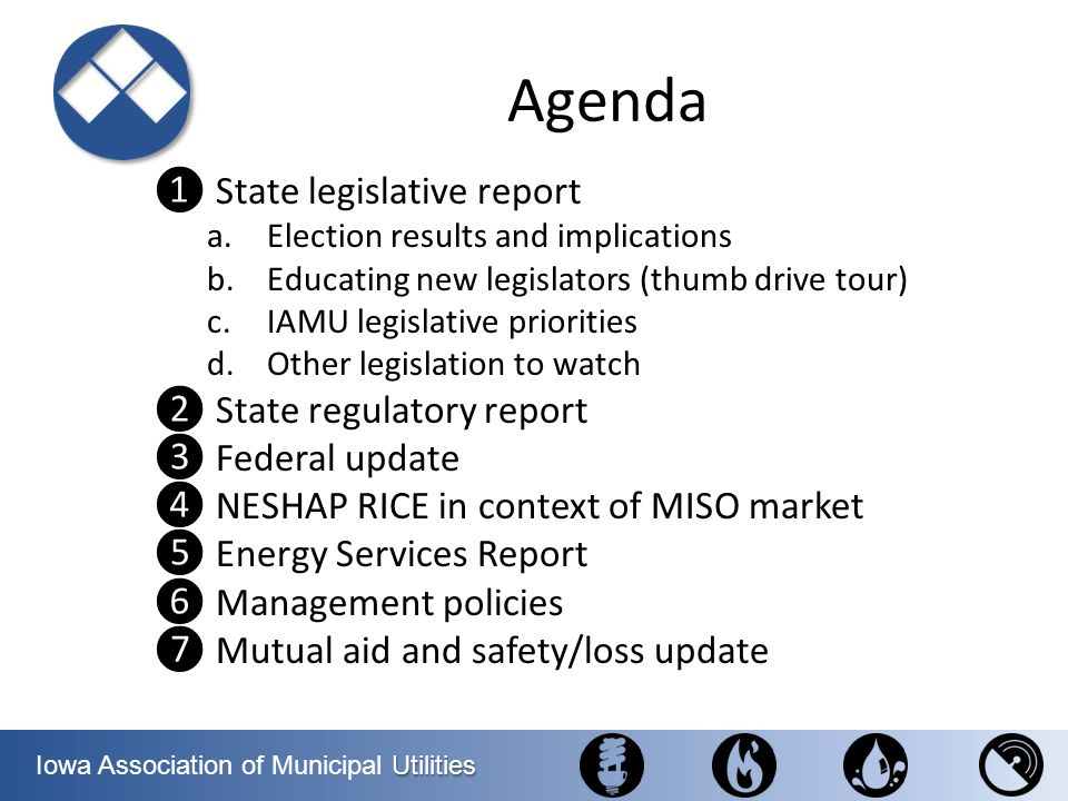 Agenda ❶ State legislative report ❷ State regulatory report