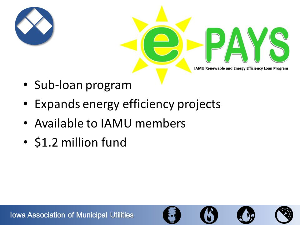 Sub-loan program Expands energy efficiency projects Available to IAMU members $1.2 million fund