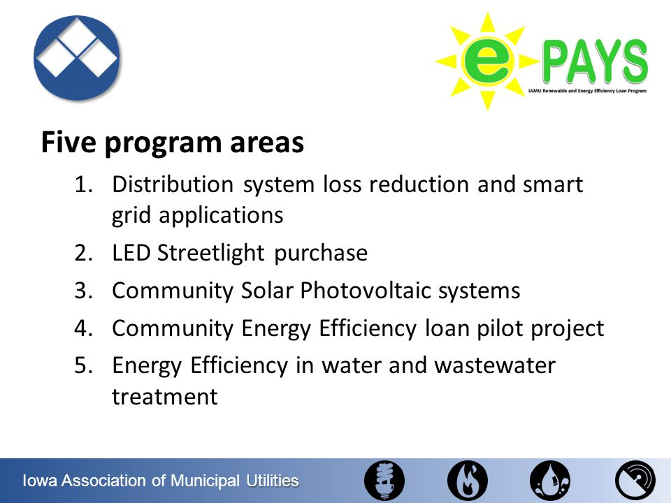 Five program areas Distribution system loss reduction and smart grid applications. LED Streetlight purchase.