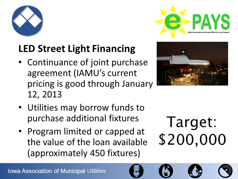 Target: $200,000 LED Street Light Financing