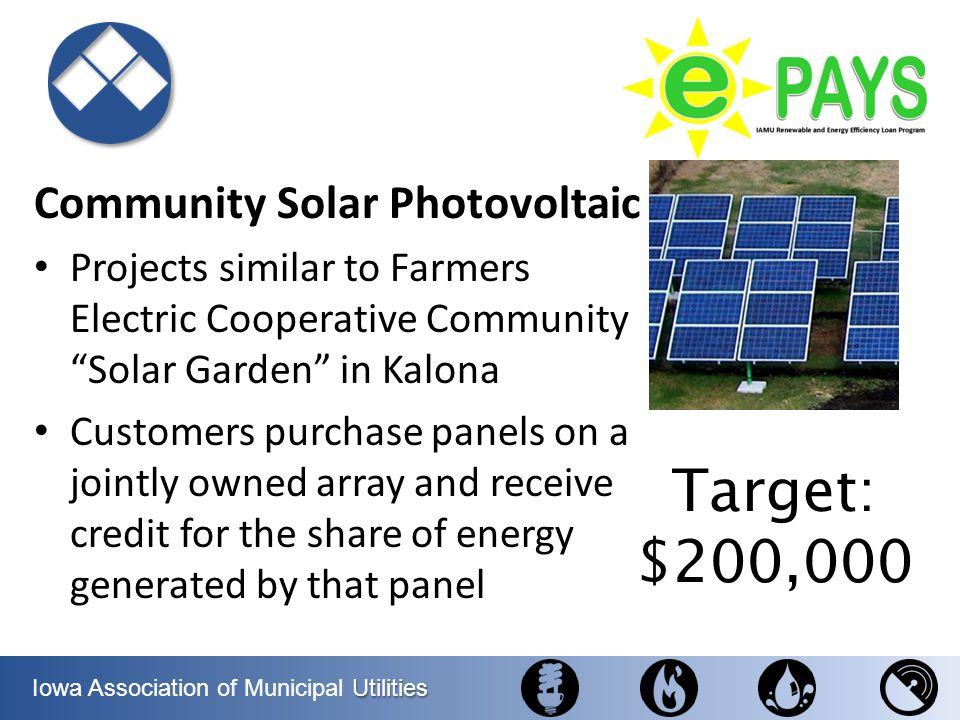 Target: $200,000 Community Solar Photovoltaic