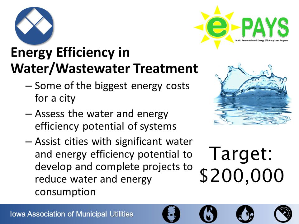 Target: $200,000 Energy Efficiency in Water/Wastewater Treatment