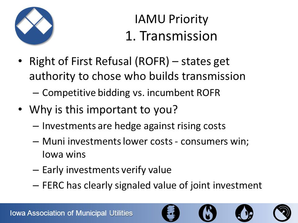 IAMU Priority 1. Transmission