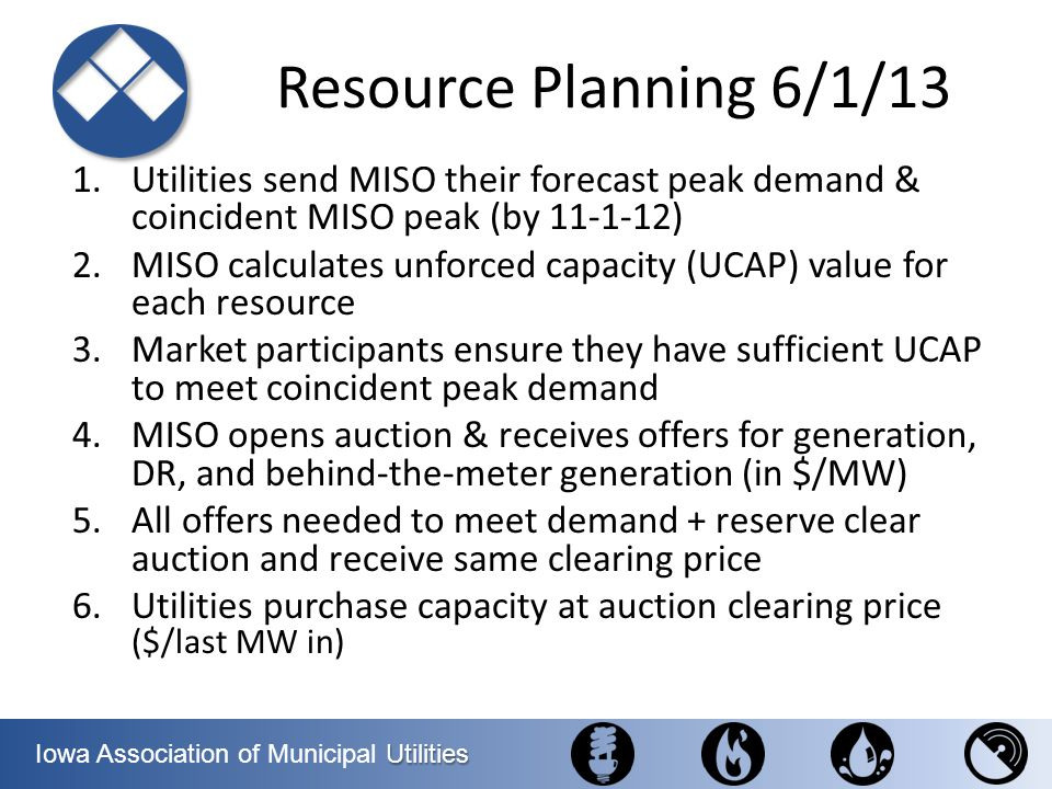 Resource Planning 6/1/13 Utilities send MISO their forecast peak demand & coincident MISO peak (by 11-1-12)