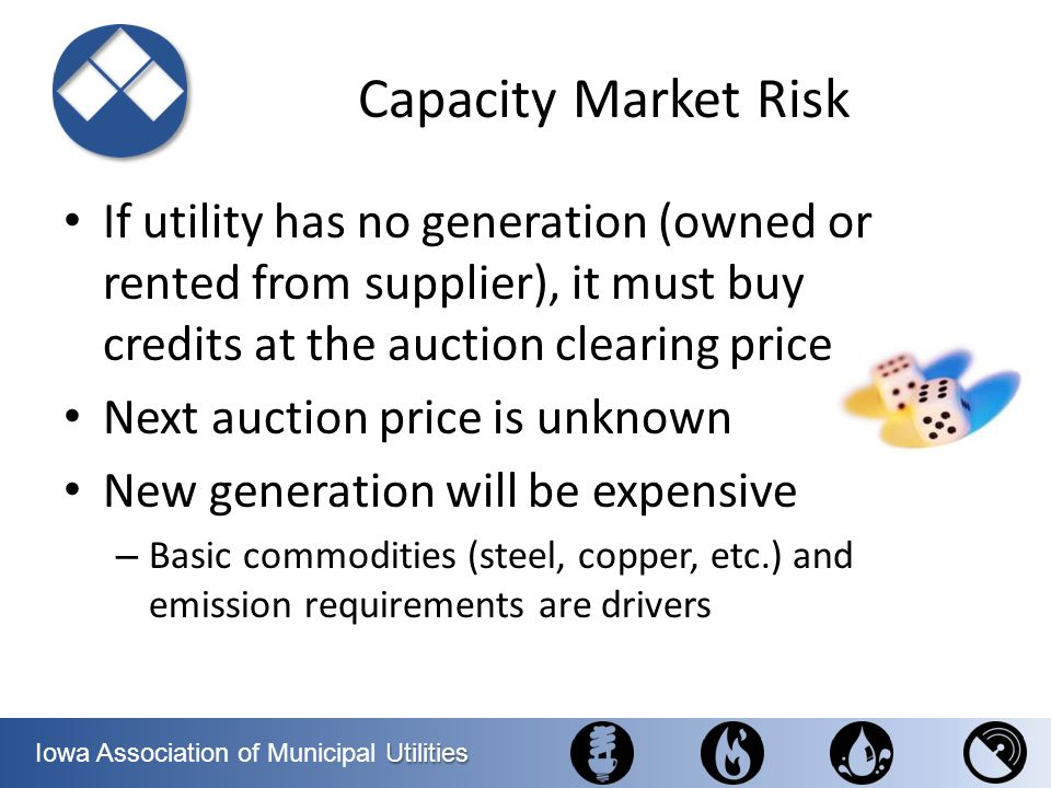 Capacity Market Risk If utility has no generation (owned or rented from supplier), it must buy credits at the auction clearing price.