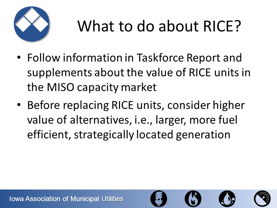 What to do about RICE Follow information in Taskforce Report and supplements about the value of RICE units in the MISO capacity market.