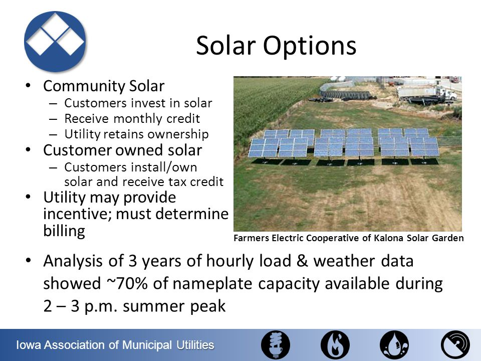 Solar Options Community Solar. Customers invest in solar. Receive monthly credit. Utility retains ownership.