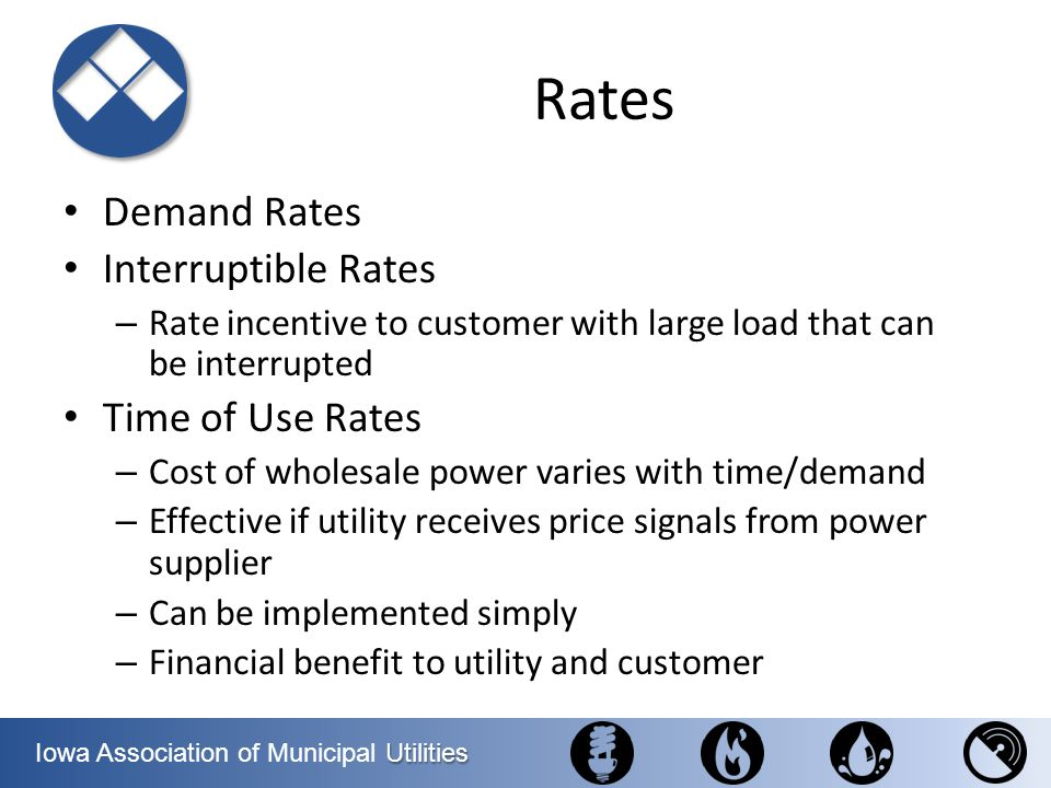 Rates Demand Rates Interruptible Rates Time of Use Rates