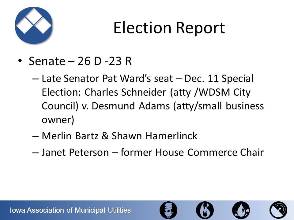 Election Report Senate – 26 D -23 R