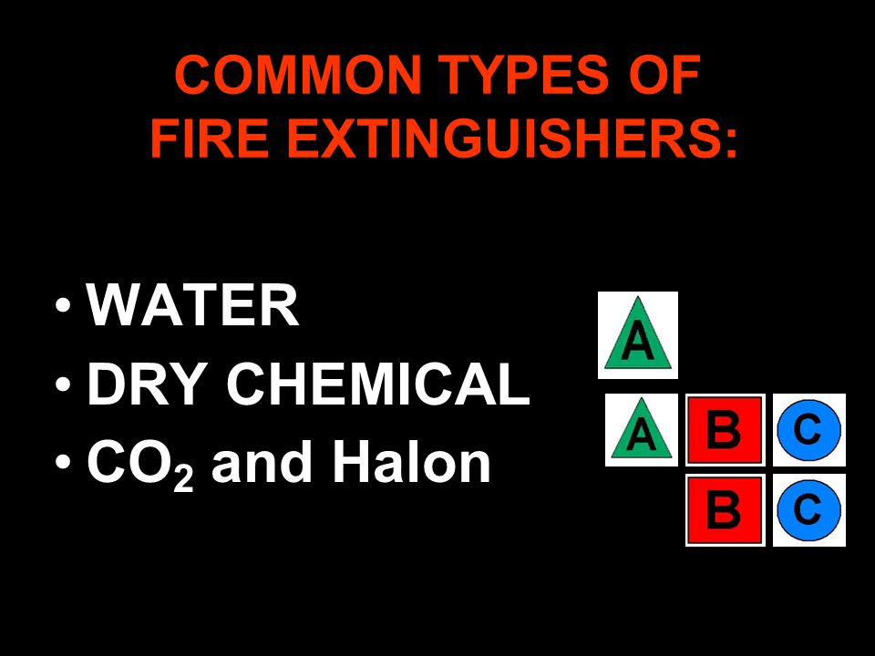 COMMON TYPES OF FIRE EXTINGUISHERS: