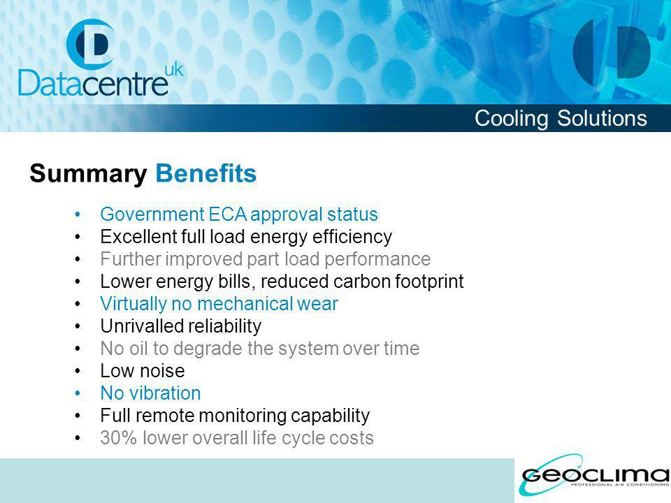 Summary Benefits Cooling Solutions Government ECA approval status