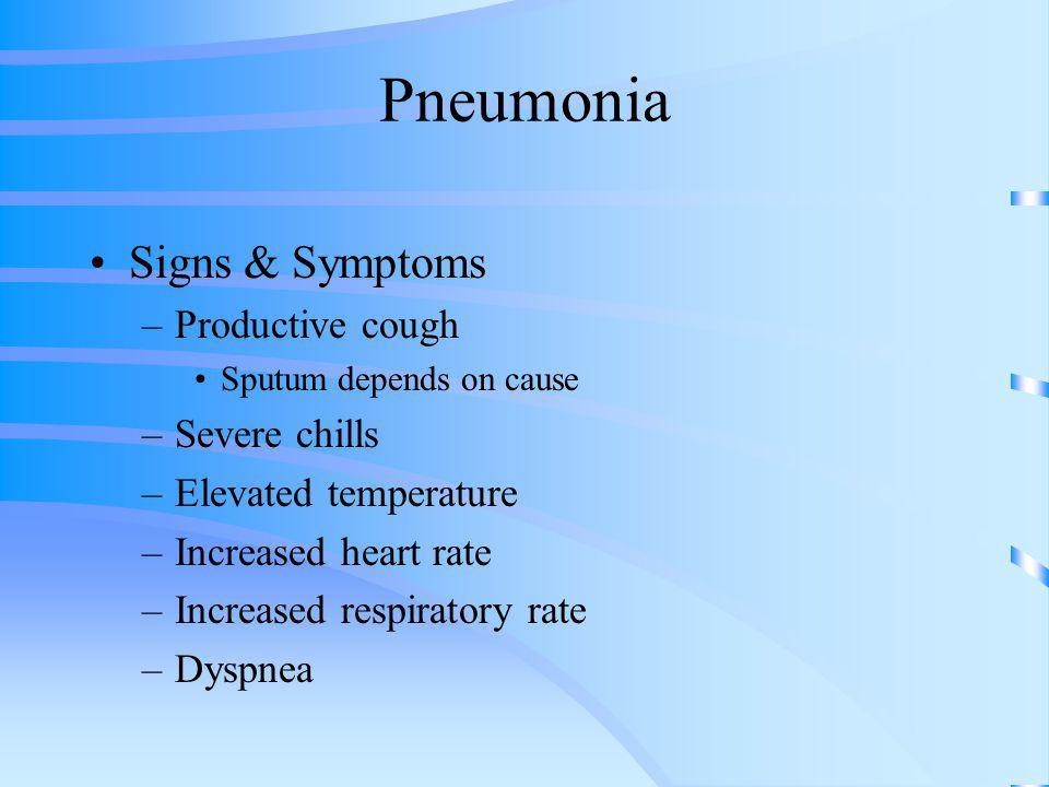 Pneumonia Signs & Symptoms Productive cough Severe chills