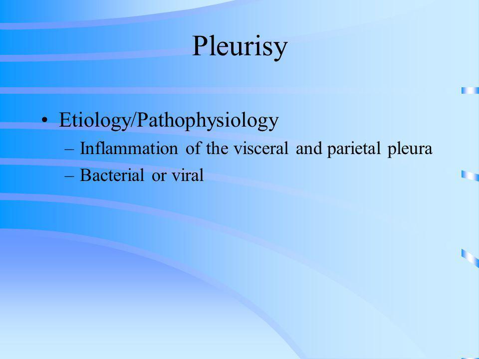Pleurisy Etiology/Pathophysiology