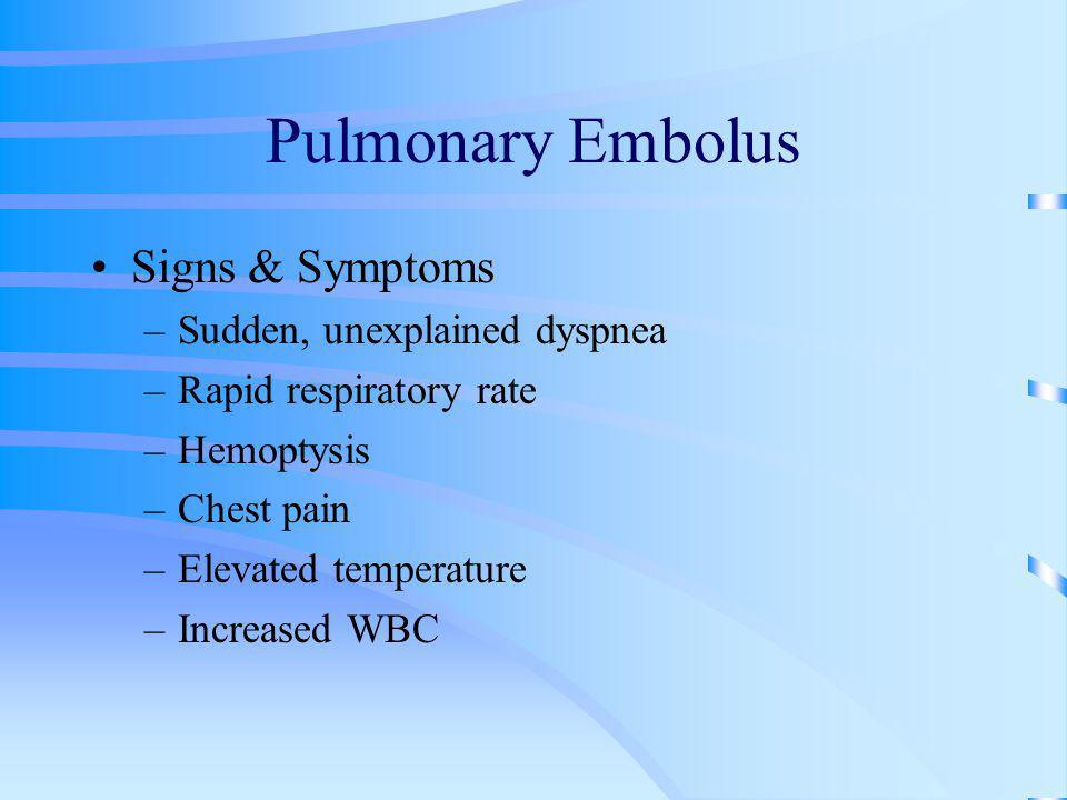 Pulmonary Embolus Signs & Symptoms Sudden, unexplained dyspnea