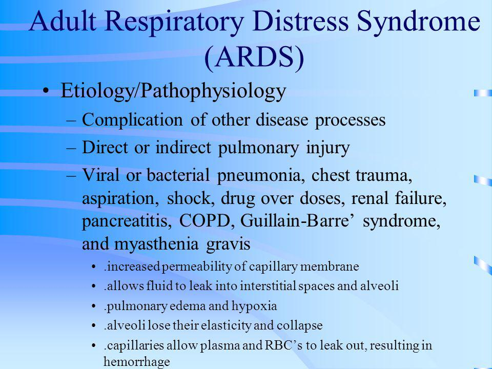 the characteristics of adult respiratory distress syndrome Clinical characteristics of acute respiratory distress syndrome survived patients at a tertiary hospital in jakarta.