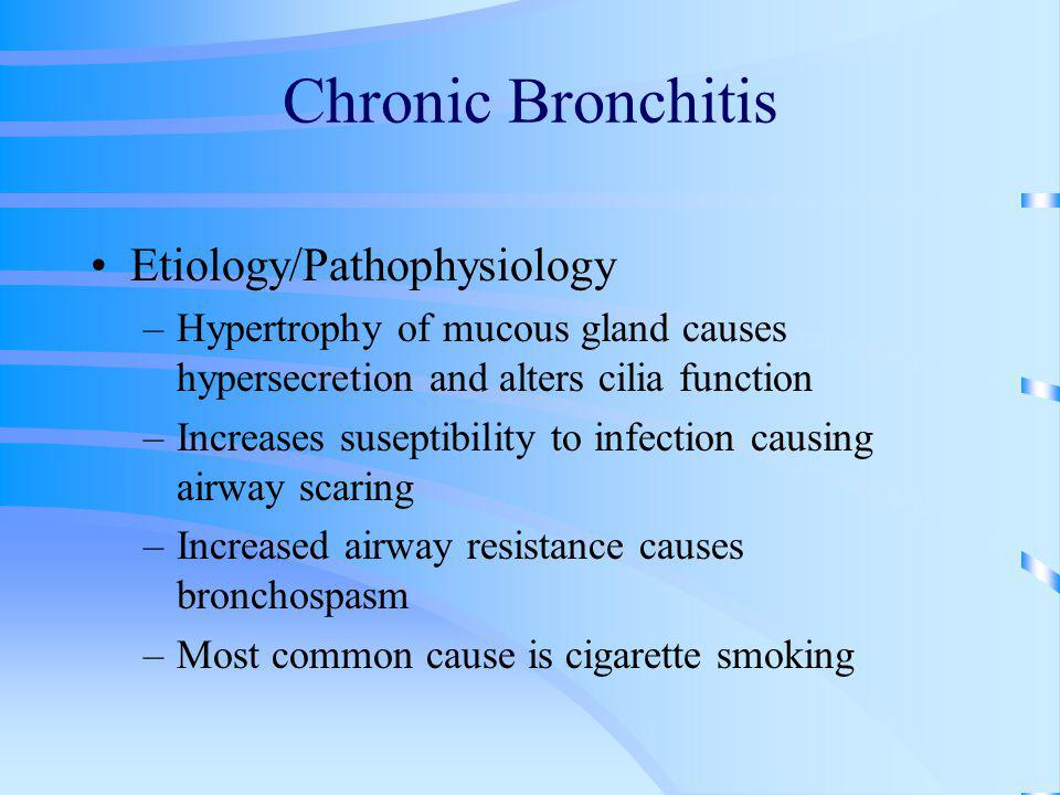 chronic bronchitis essay Chronic bronchitis is often known as chronic obstructive pulmonary disease (copd) there is no cure for chronic bronchitis, but healthy living will help in particular, you should stop smoking, if you.