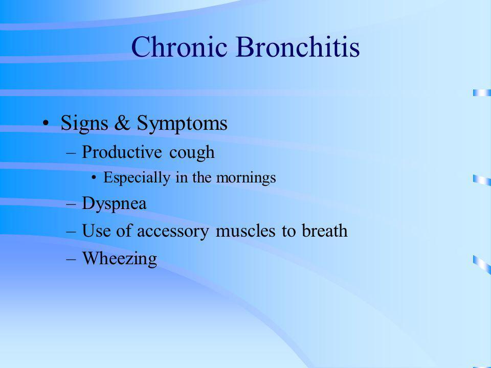 Chronic Bronchitis Signs & Symptoms Productive cough Dyspnea