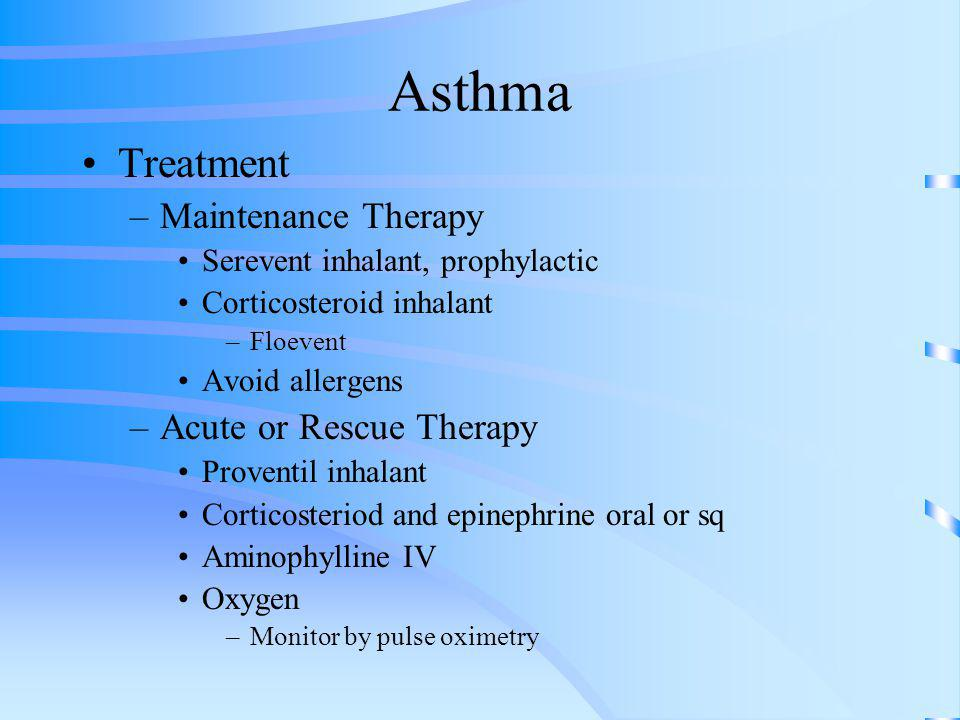 Asthma Treatment Maintenance Therapy Acute or Rescue Therapy