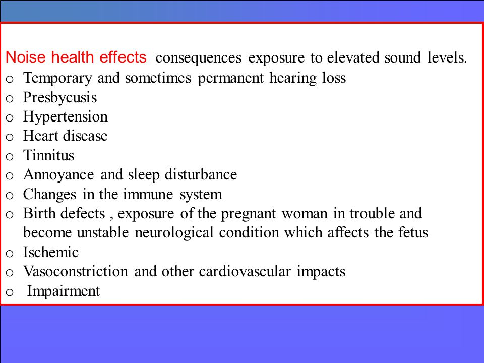 Noise health effects consequences exposure to elevated sound levels.