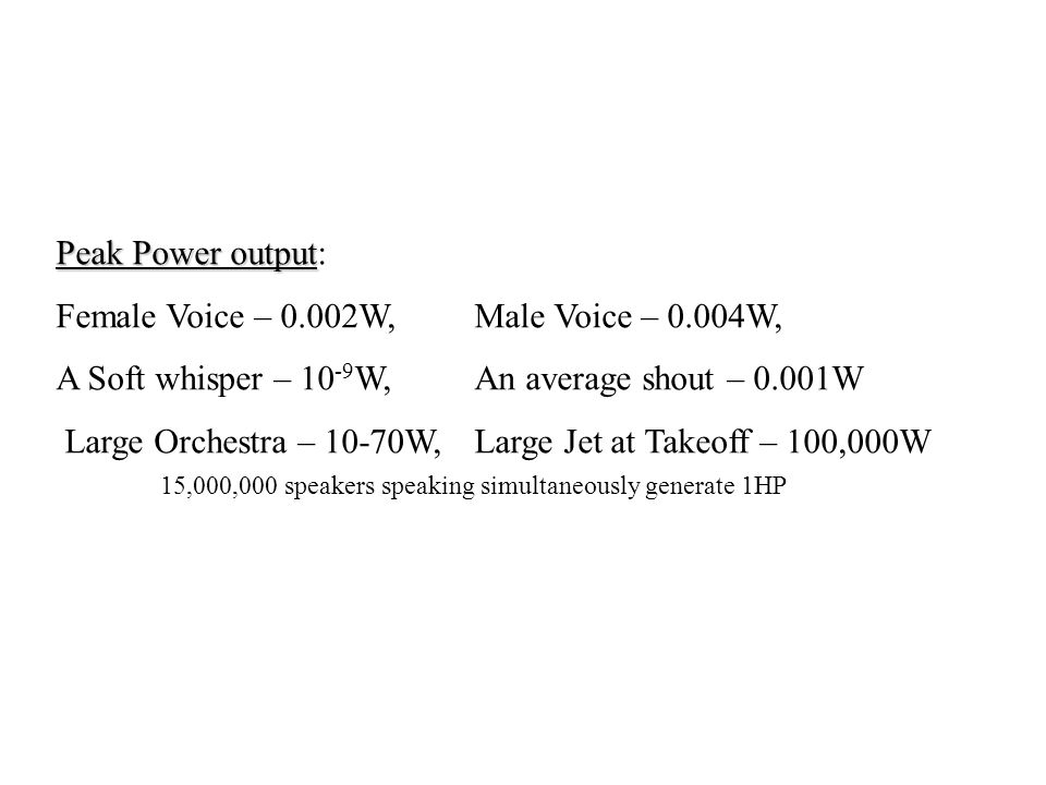 Peak Power output: Female Voice – 0.002W, Male Voice – 0.004W, A Soft whisper – 10-9W, An average shout – 0.001W.