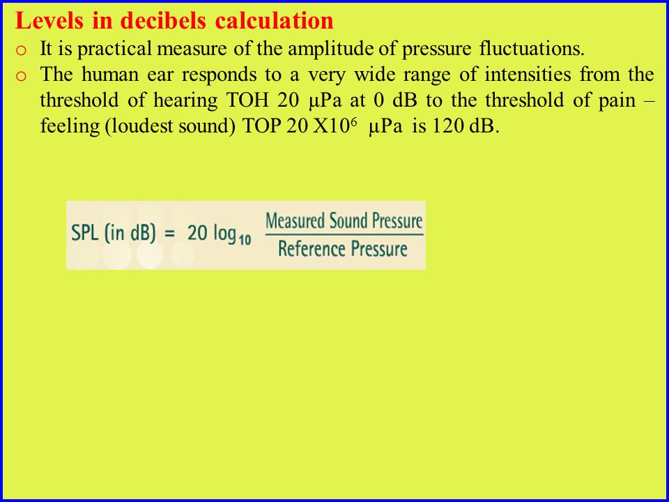 Levels in decibels calculation