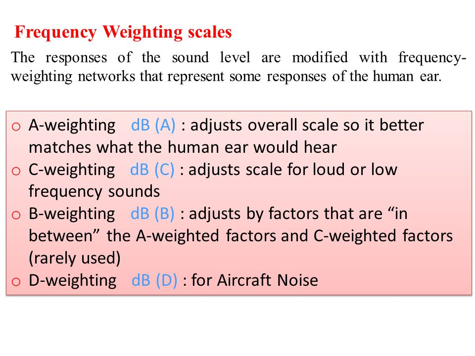 Frequency Weighting scales