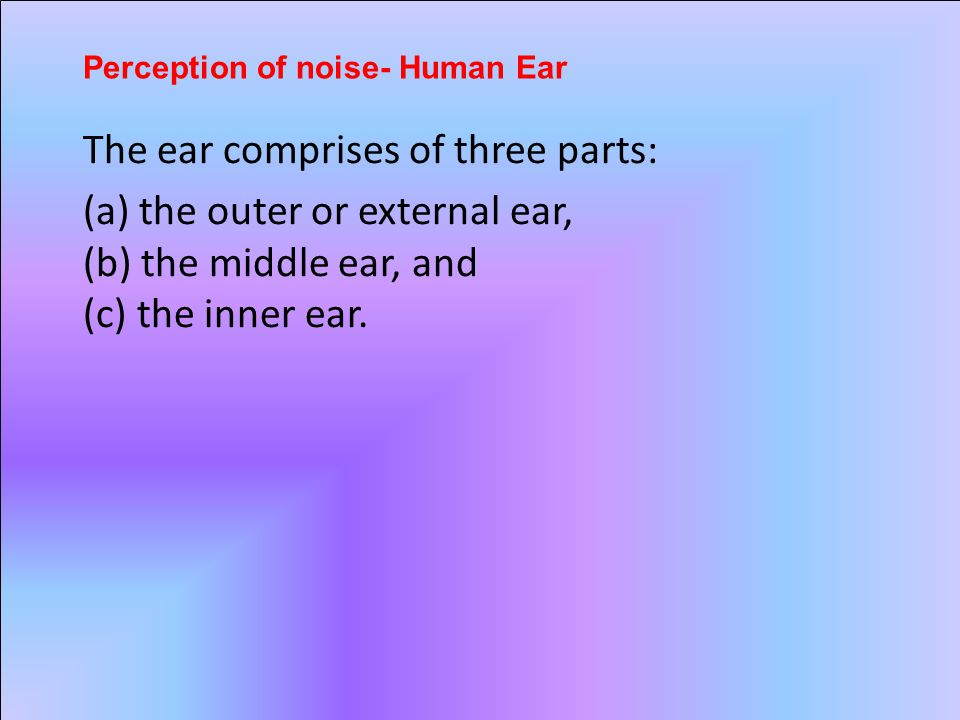 The ear comprises of three parts: