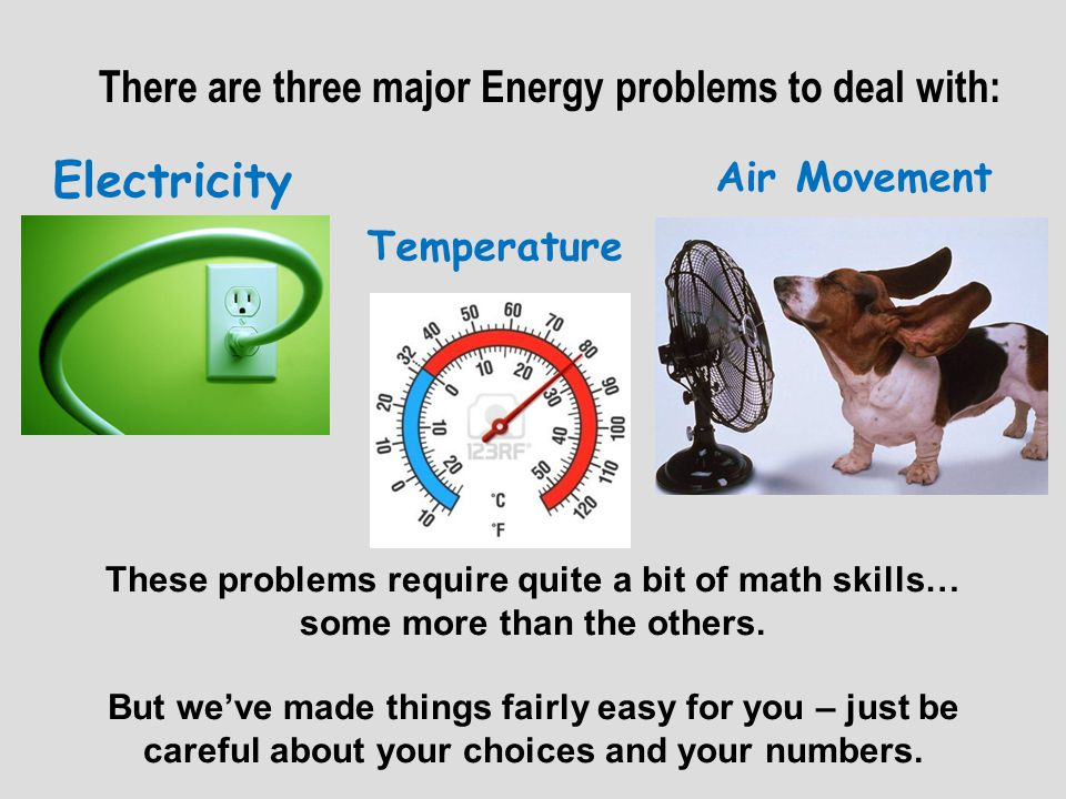 Electricity There are three major Energy problems to deal with: