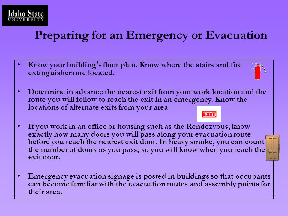 Preparing for an Emergency or Evacuation