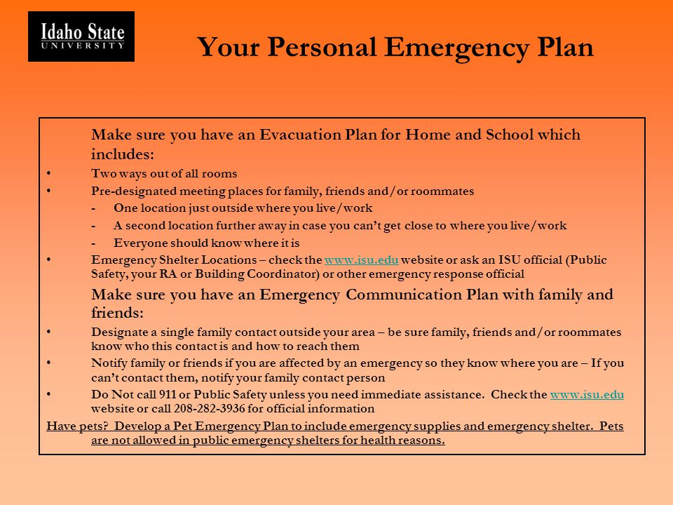 Your Personal Emergency Plan
