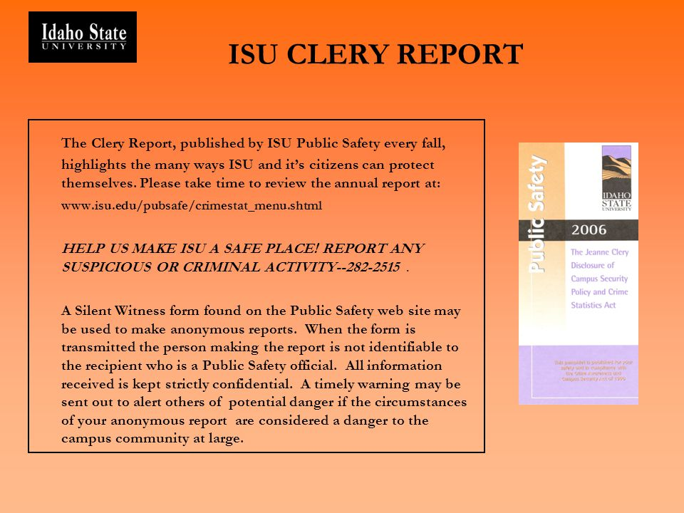 ISU CLERY REPORT