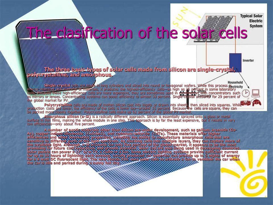 The clasification of the solar cells