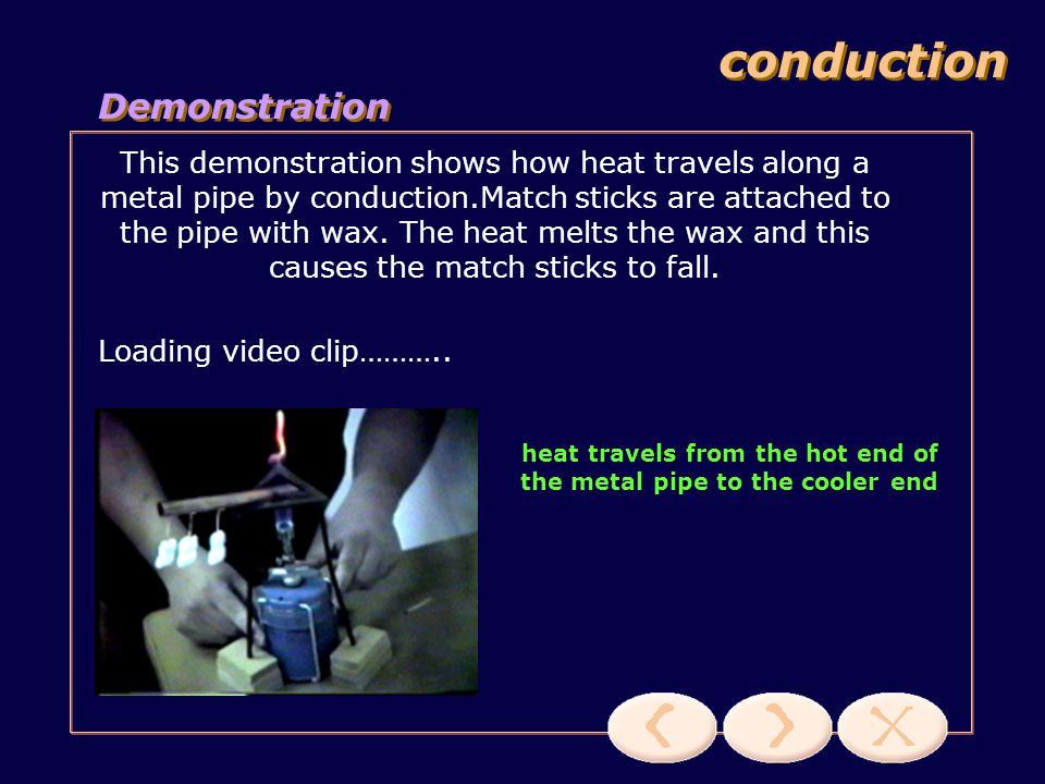 heat travels from the hot end of the metal pipe to the cooler end