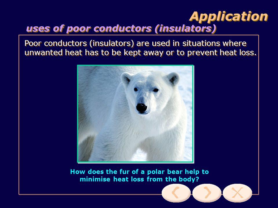 Application uses of poor conductors (insulators)