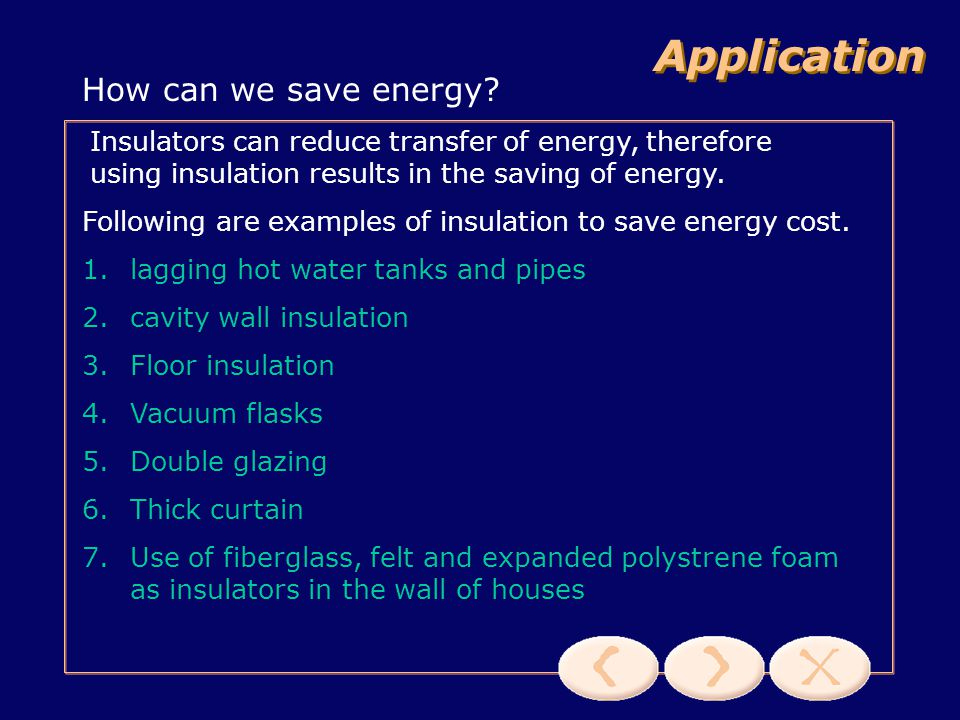 Application How can we save energy