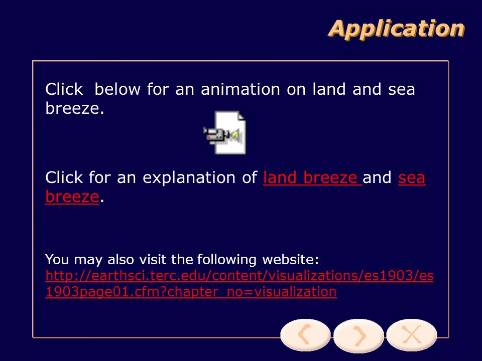 Application Click below for an animation on land and sea breeze.