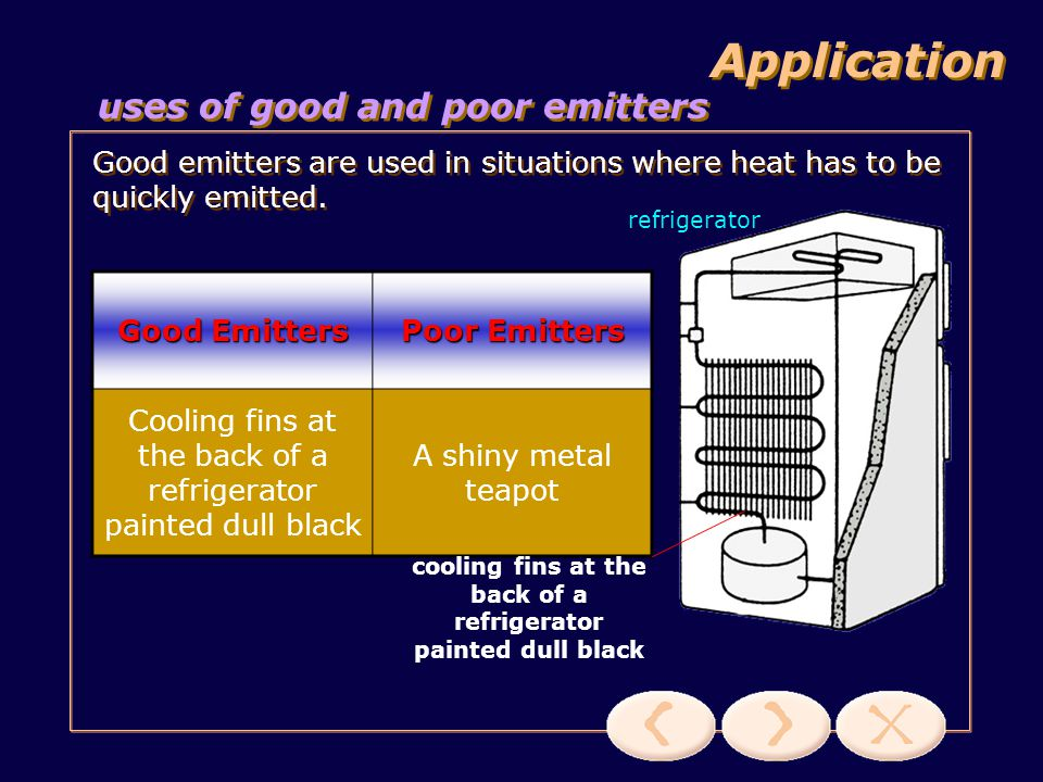cooling fins at the back of a refrigerator painted dull black