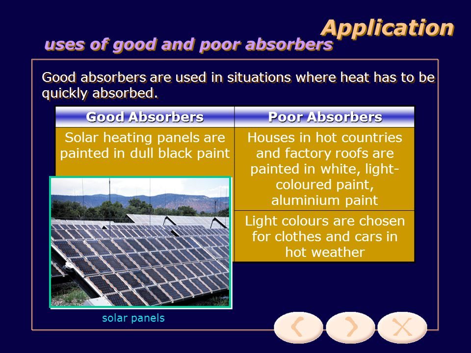 Application uses of good and poor absorbers