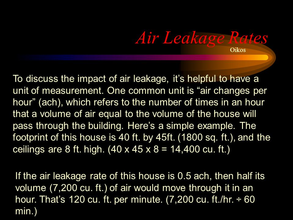 Air Leakage Rates Oikos.